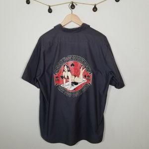 Lucky 13 Red Kap Button Up Shirt Pin Up Girl XXL
